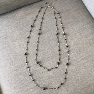 Cute black beaded double layer necklace.